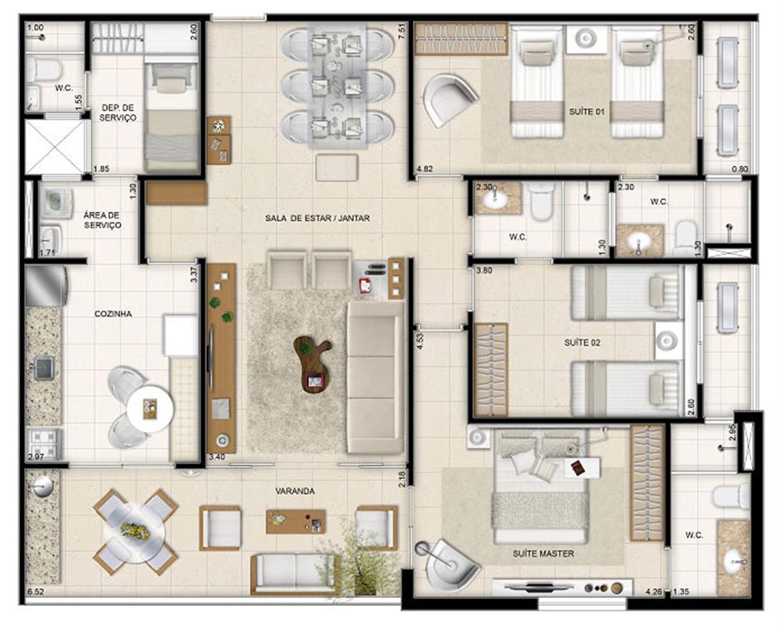 Perspectiva ilustrada da planta tipo Makani 126 m² | Mandara Kauai – Apartamento no  Porto das Dunas - Aquiraz - Ceará