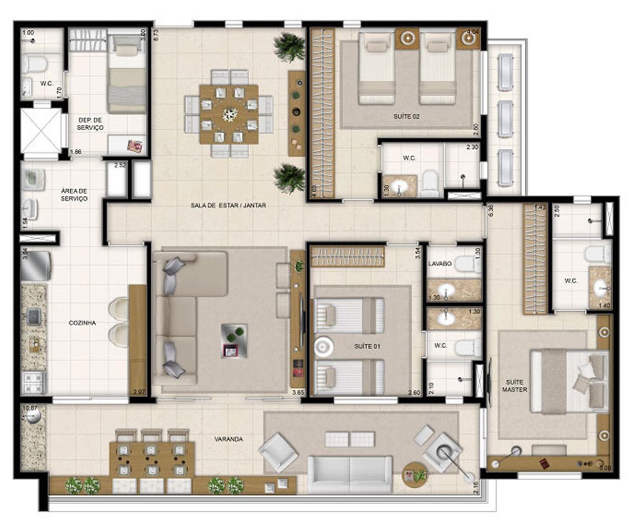 Perspectiva ilustrada da planta tipo Moana 148 m² | Mandara Kauai – Apartamento no  Porto das Dunas - Aquiraz - Ceará