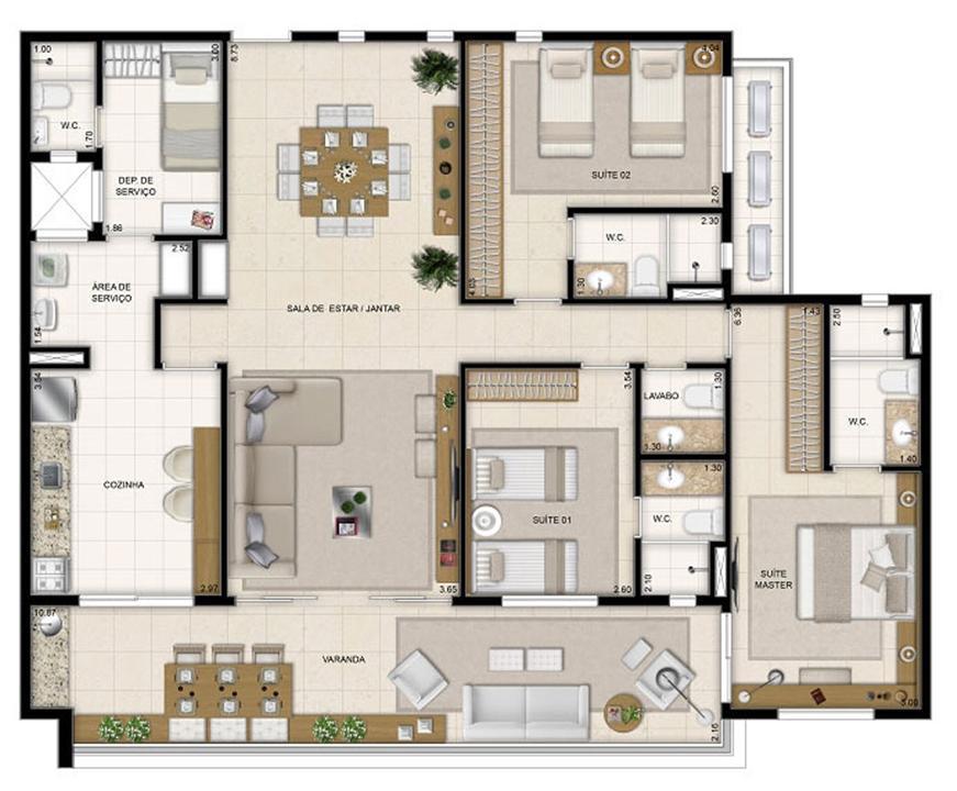 Perspectiva ilustrada da planta tipo Moana 148 m² | Mandara Kauai – Apartamentono  Porto das Dunas - Aquiraz - Ceará