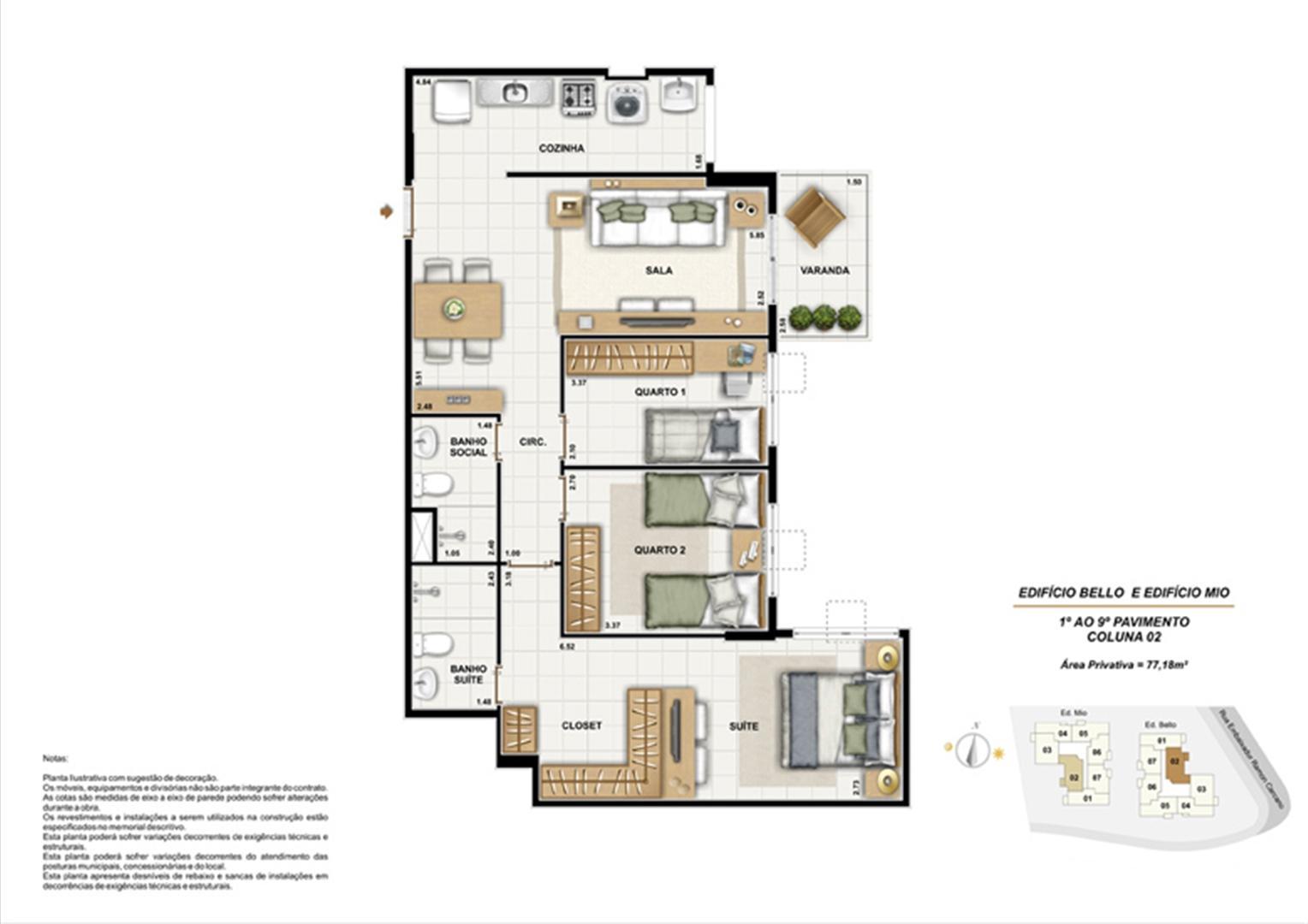 Ed. Bello e Mio 1º ao 9º Pavaimento Coluna 2 | Adorabile Tijuca – Apartamento na  Tijuca - Rio de Janeiro - Rio de Janeiro