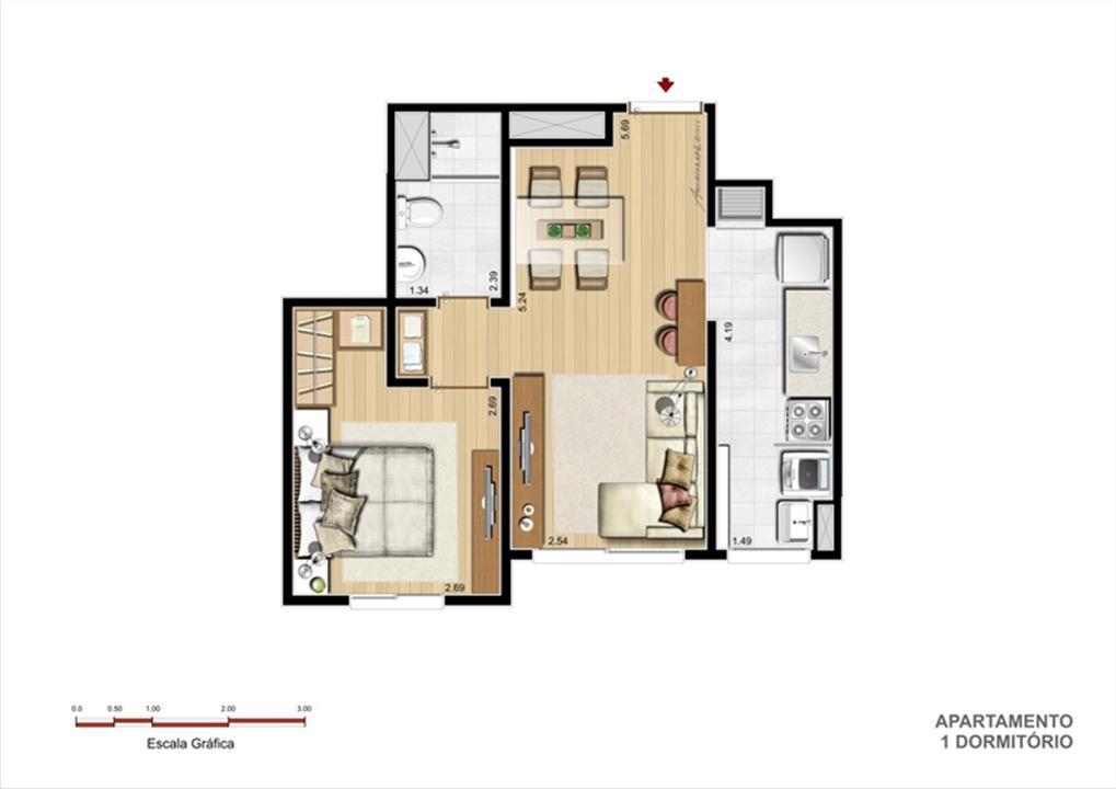 PLB - Tipo 1 dormitório | Supera Condomínio Clube – Apartamentoao lado do   Zaffari Cavalhada - Porto Alegre - Rio Grande do Sul