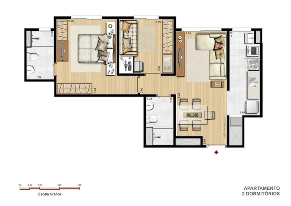 Terreo A - Tipo 2 dormitórios | Supera Condomínio Clube – Apartamentoao lado do   Zaffari Cavalhada - Porto Alegre - Rio Grande do Sul
