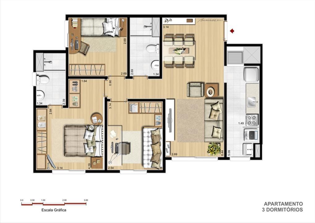 Torre A - Tipo 3 dormitórios | Supera Condomínio Clube – Apartamentoao lado do   Zaffari Cavalhada - Porto Alegre - Rio Grande do Sul