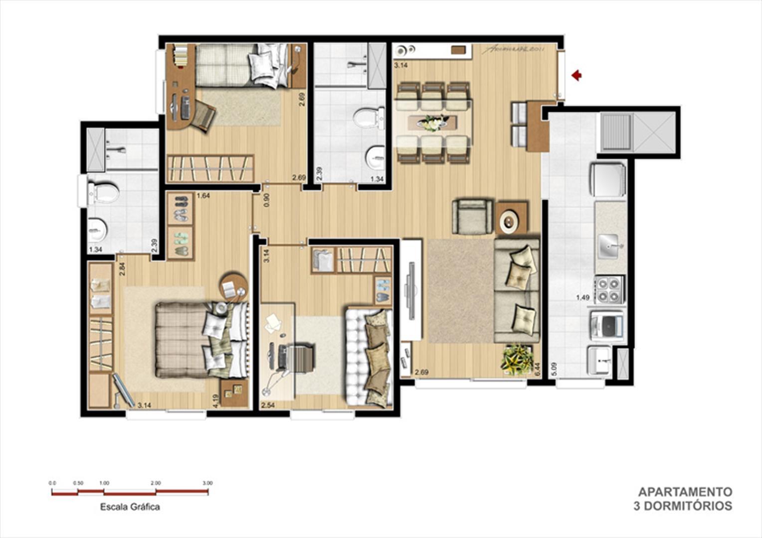 Planta 3dorm | You Condomínio Clube – Apartamento  próximo ao Zaffari Center Lar - Porto Alegre - Rio Grande do Sul