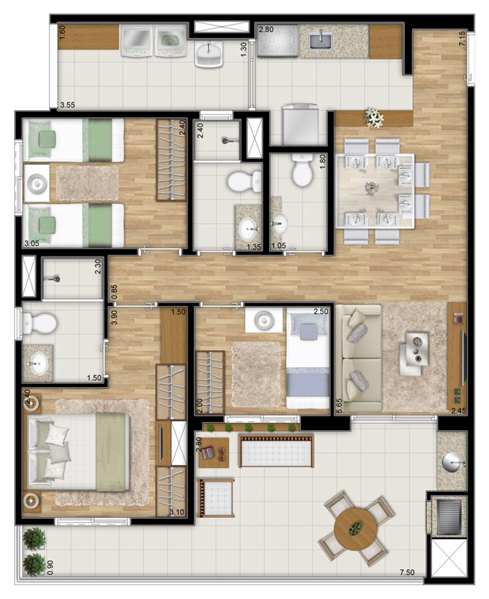 Planta tipo do apartamento de 87 m² privativos - 3 dorms. c 1 suíte   Varanda Ipiranga – Apartamentono  Ipiranga - São Paulo - São Paulo