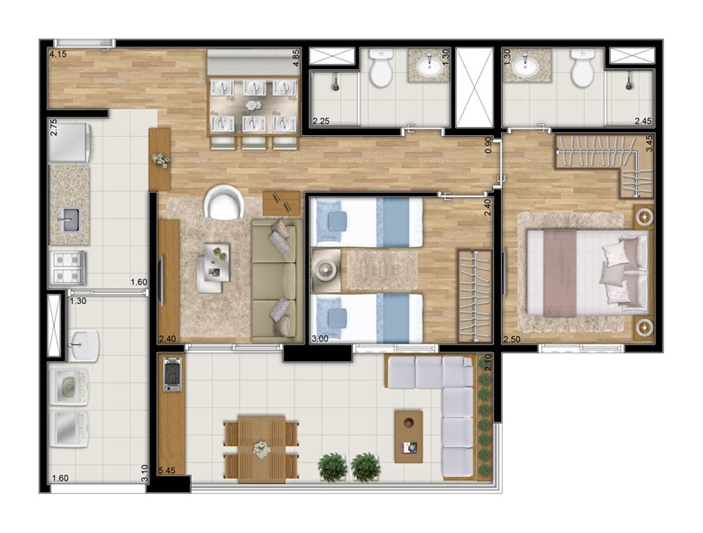Planta tipo ilustrada do apartamento de 68 m² privativos - 2 dorms. c 1 suíte   Varanda Ipiranga – Apartamento no  Ipiranga - São Paulo - São Paulo