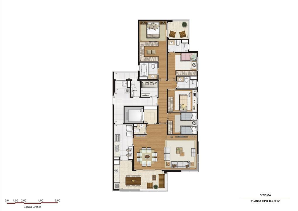 Planta 165,50 m2 | Vetrino Brooklin by Cyrela – Apartamentono  Brooklin - São Paulo - São Paulo