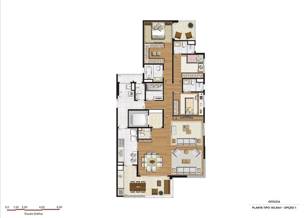 Planta 165,50 m2 - opção 1 | Vetrino Brooklin by Cyrela – Apartamentono  Brooklin - São Paulo - São Paulo