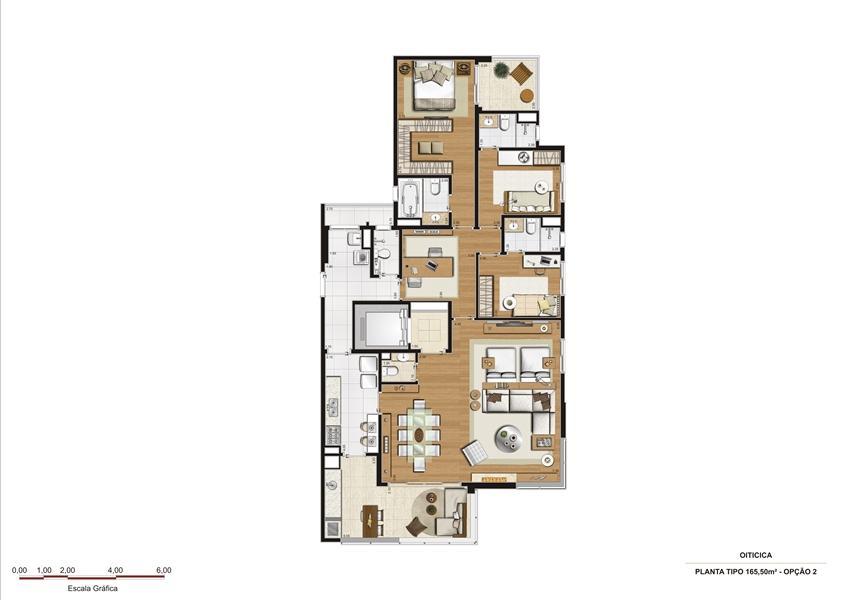 Planta 165,50 m2 - opção 2 | Vetrino Brooklin by Cyrela – Apartamentono  Brooklin - São Paulo - São Paulo
