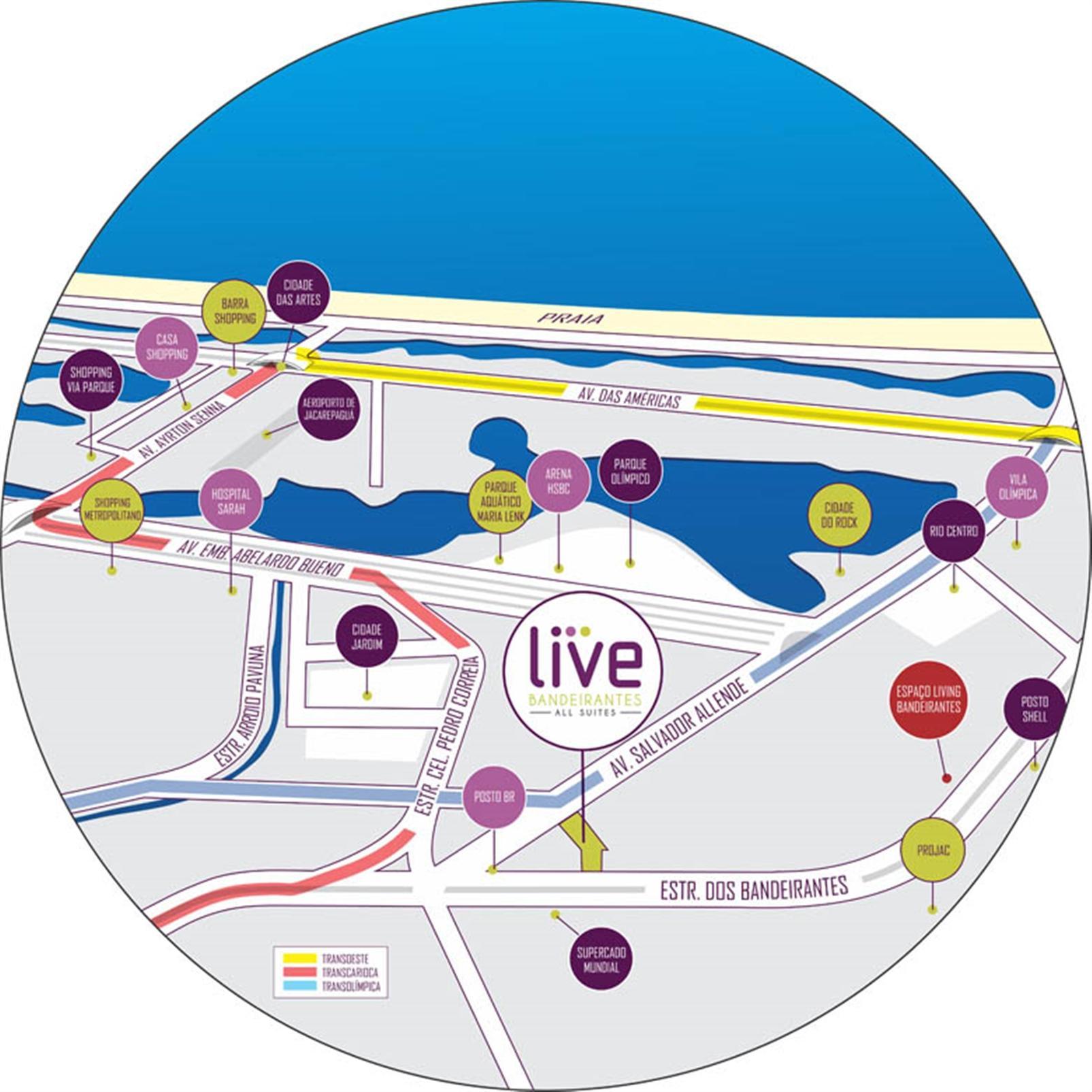 Ilustração artística do mapa | Live Bandeirantes All Suites – Apartamentoem  Jacarepaguá - Rio de Janeiro - Rio de Janeiro
