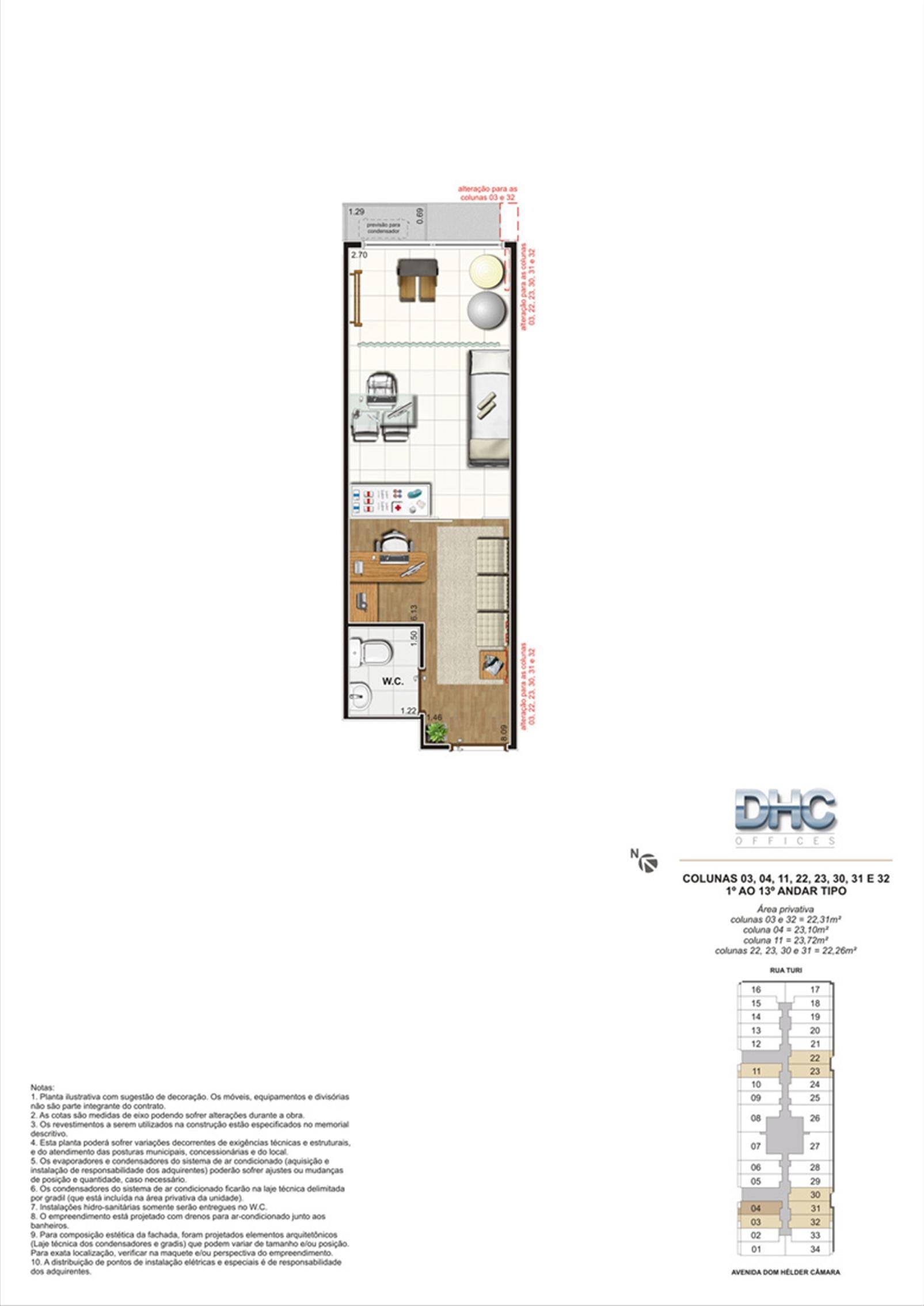 Colunas 03, 04, 11, 22, 23, 30, 31 e 32 -1° ao 13º andar tipo | DHC Offices – Salas Comerciaisem  Pilares - Rio de Janeiro - Rio de Janeiro