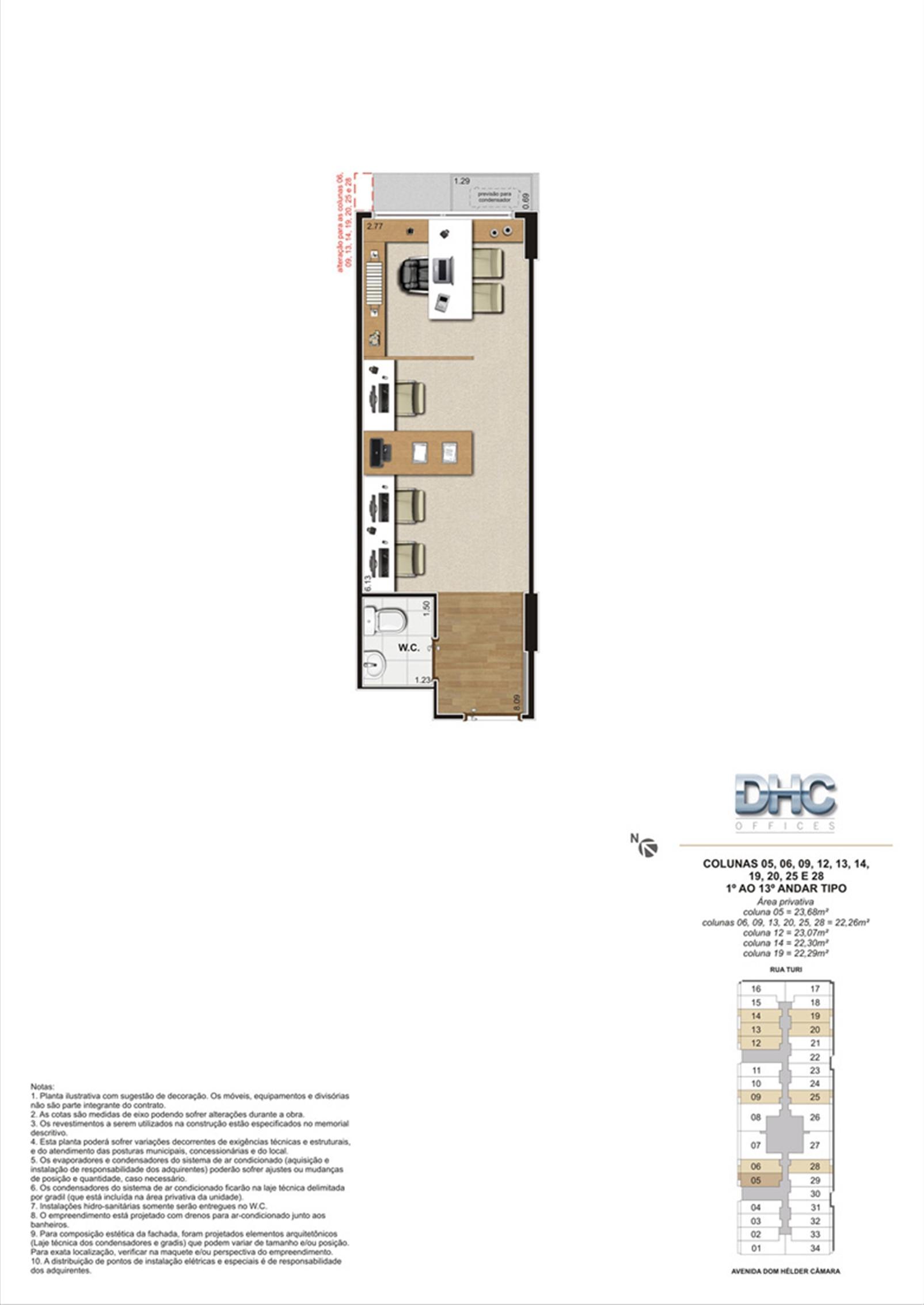 Colunas 05, 06, 09, 12, 13, 14, 19, 20, 25 e 28 -1° ao 13º andar tipo | DHC Offices – Salas Comerciaisem  Pilares - Rio de Janeiro - Rio de Janeiro
