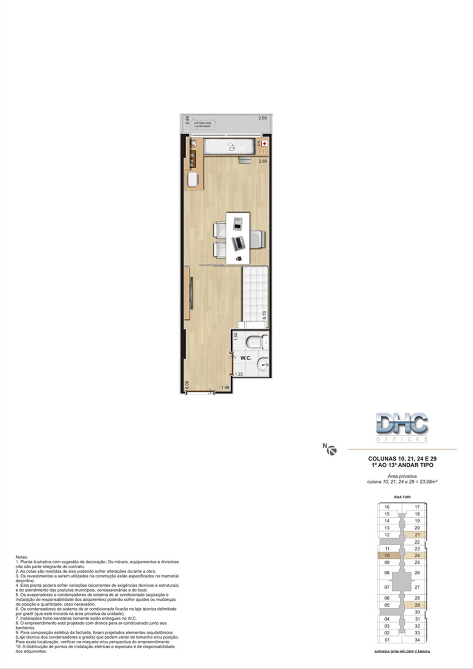 Colunas 10, 21, 24 e 29 -1° ao 13º andar tipo | DHC Offices – Salas Comerciaisem  Pilares - Rio de Janeiro - Rio de Janeiro