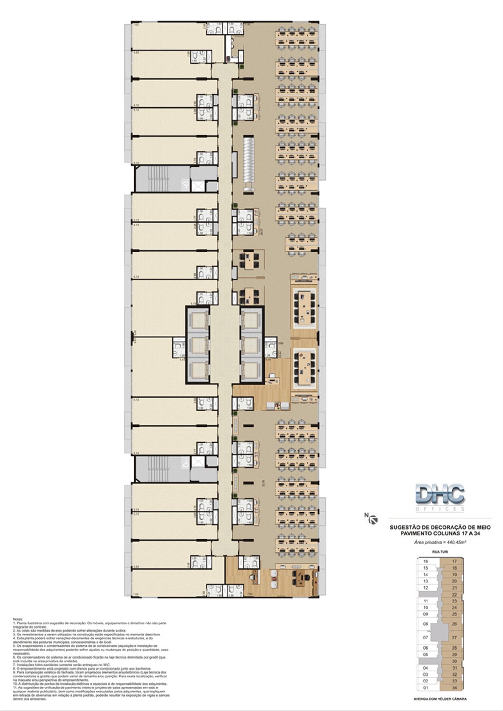 Sugestão de Decoração de Meio Pavimento - Colunas 17 a 34 | DHC Offices – Salas Comerciaisem  Pilares - Rio de Janeiro - Rio de Janeiro