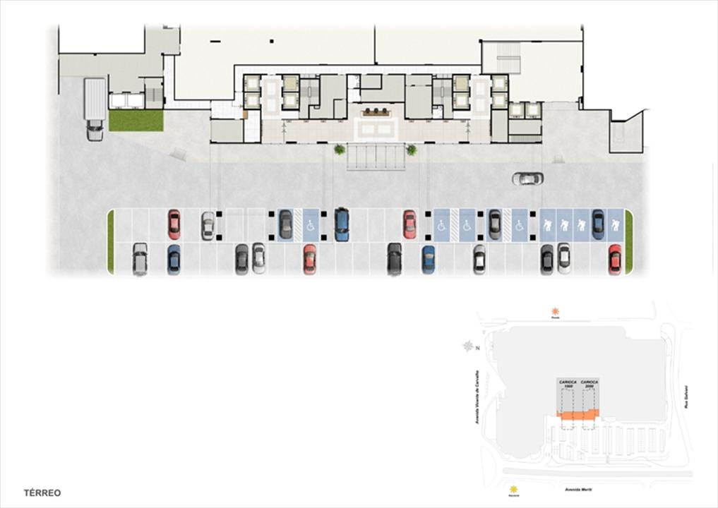 Masterplan Pavimento Térreo | Carioca Offices – Salas Comerciaisna  Vila da Penha - Rio de Janeiro - Rio de Janeiro