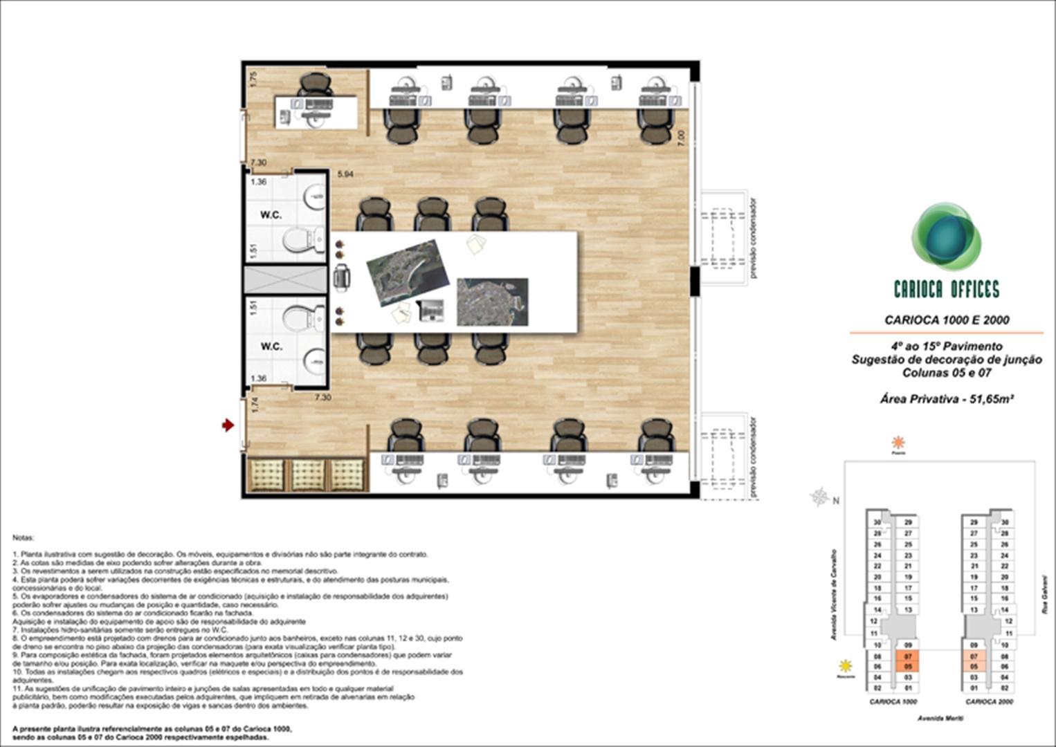 Sugestão de decoração de Junção - Carioca 1000 e 2000 - colunas 05 e 07 - 4º ao 15º Pavimento | Carioca Offices – Salas Comerciais na  Vila da Penha - Rio de Janeiro - Rio de Janeiro