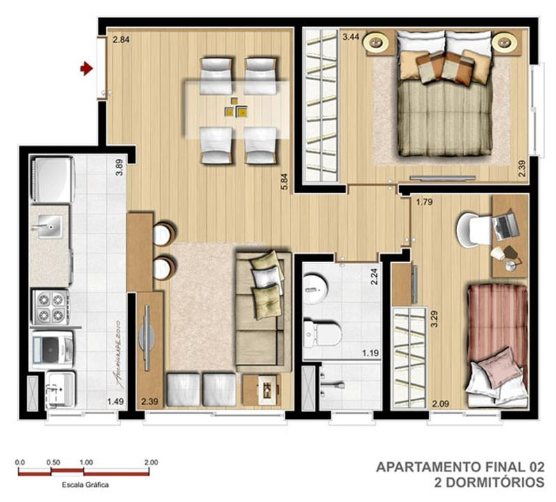 2 Dorm - 45 m²   Reserva Ipanema – Apartamentoem  Ipanema - Porto Alegre - Rio Grande do Sul