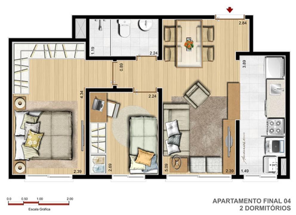 2 Dorm - 47 m²   Reserva Ipanema – Apartamentoem  Ipanema - Porto Alegre - Rio Grande do Sul