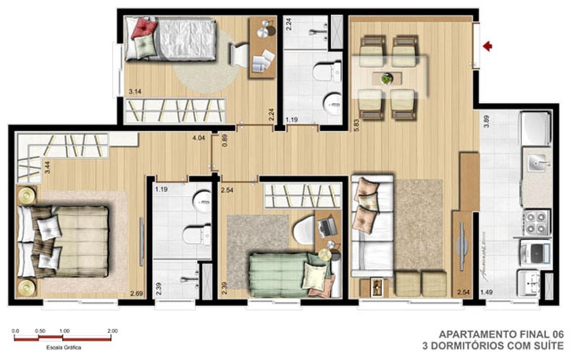 3 Dorm com Suíte - 61 m²   Reserva Ipanema – Apartamentoem  Ipanema - Porto Alegre - Rio Grande do Sul