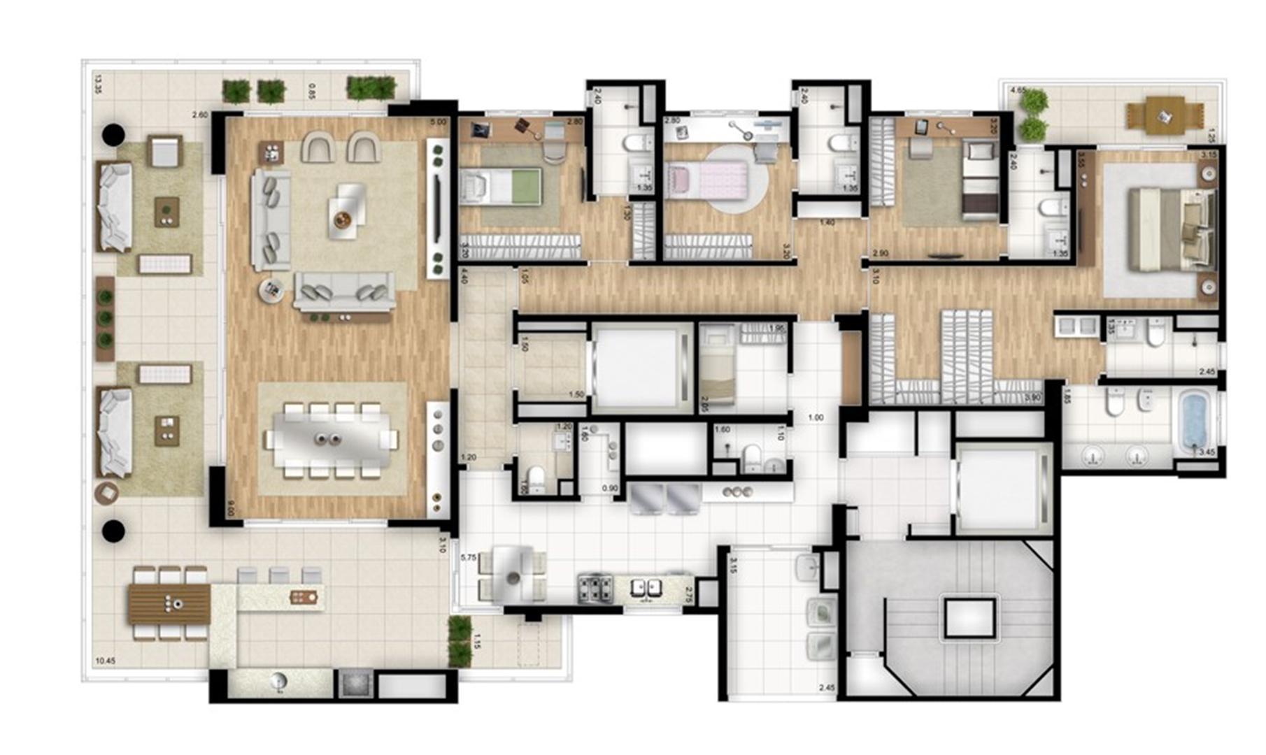 Planta tipo padrão 4 suítes banho senhor e senhora na suíte master - Torre Nero | Cyrela Essenza Moema – Apartamento em  Moema - São Paulo - São Paulo
