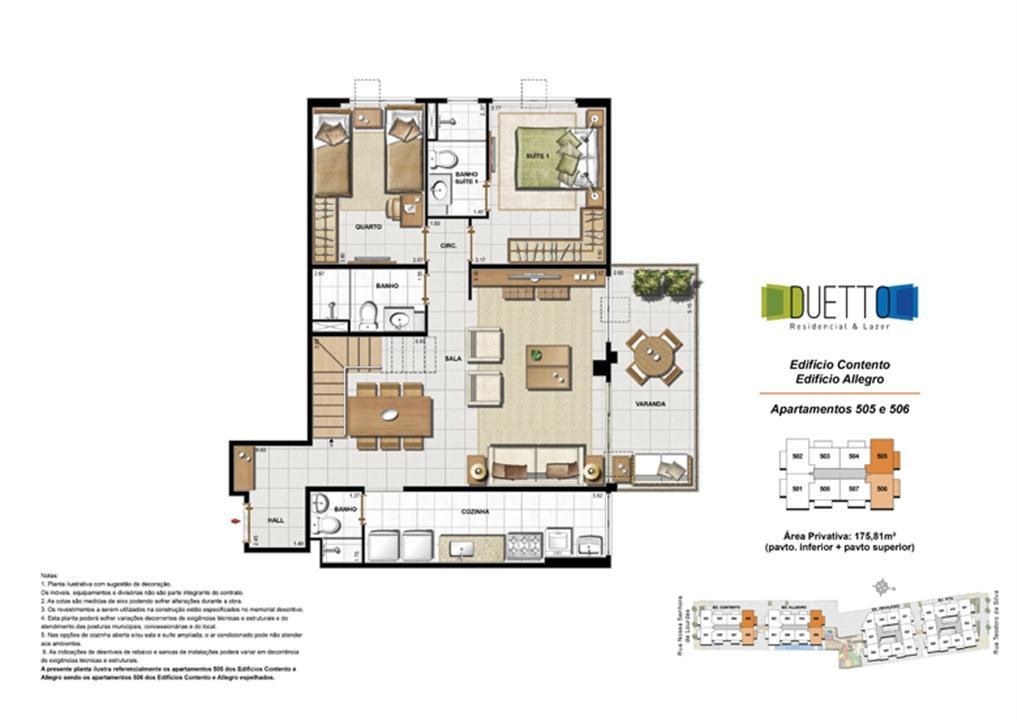 Cobertura Duplex - 3 Quartos com suíte - 175,81m² - pavto Inferior + pavto superior | Duetto Residencial & Lazer – Apartamentono  Grajaú - Rio de Janeiro - Rio de Janeiro