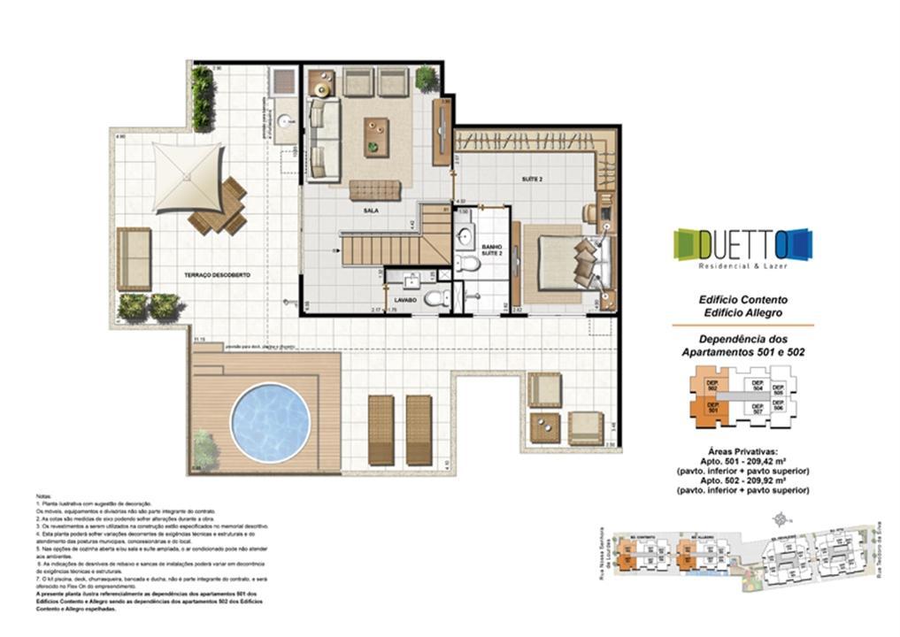 Cobertura Duplex - 3 Quartos com suíte - 209m² - pavto Inferior + pavto superior (2) | Duetto Residencial & Lazer – Apartamentono  Grajaú - Rio de Janeiro - Rio de Janeiro