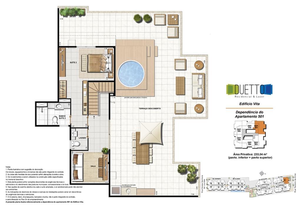 Cobertura Duplex - 3 Quartos com suíte - 233,04m² -pavto inferior+ pavto superior (2) | Duetto Residencial & Lazer – Apartamentono  Grajaú - Rio de Janeiro - Rio de Janeiro