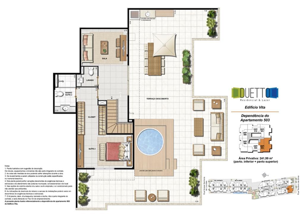 Cobertura Duplex - 3 Quartos com suíte - 241,99m² -pavto inferior+ pavto superior (2) | Duetto Residencial & Lazer – Apartamentono  Grajaú - Rio de Janeiro - Rio de Janeiro