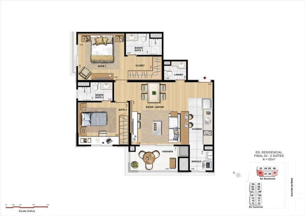 Apartamento 2 Suítes e 2 Suítes Garden | 1550 Batel (Home Batel) – Apartamentono  Batel - Curitiba - Paraná