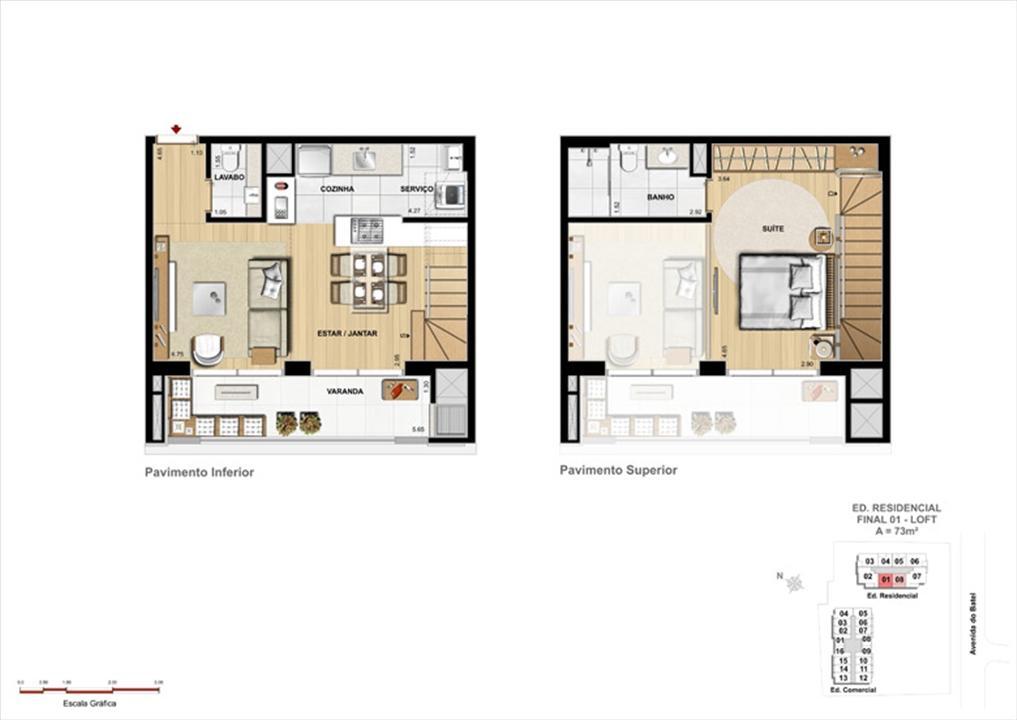 Loft - Pavimento Inferior e Pavimento Superior | 1550 Batel (Home Batel) – Apartamentono  Batel - Curitiba - Paraná