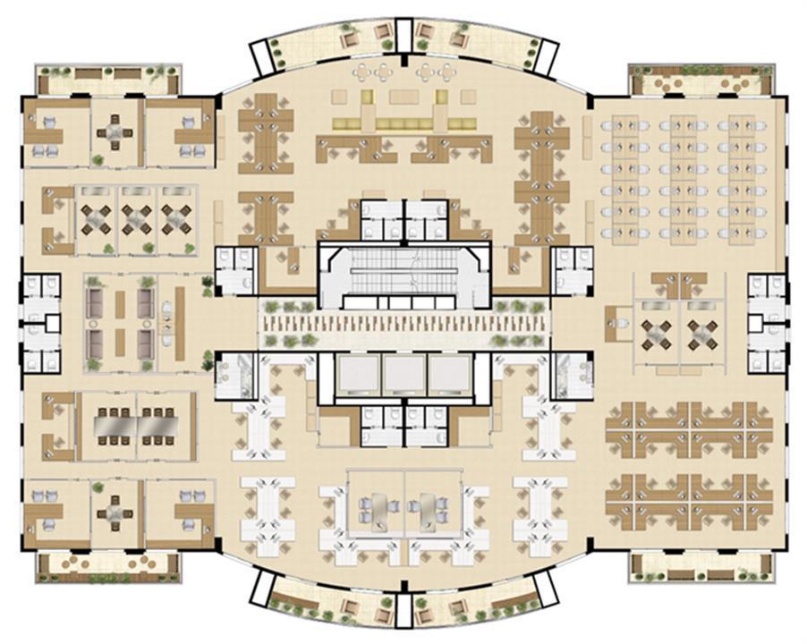 Planta laje única   1.000 m² (Torre Sky Tower) | Villa Lobos Office Park – Apartamentono  Alto de Pinheiros - São Paulo - São Paulo