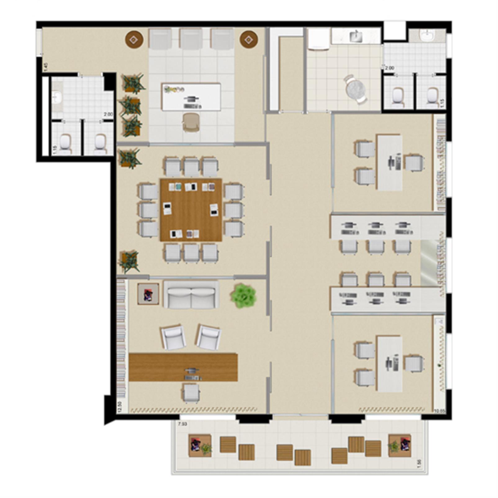 Planta tipo   165 m² (escritório de consultoria) | Villa Lobos Office Park – Apartamentono  Alto de Pinheiros - São Paulo - São Paulo