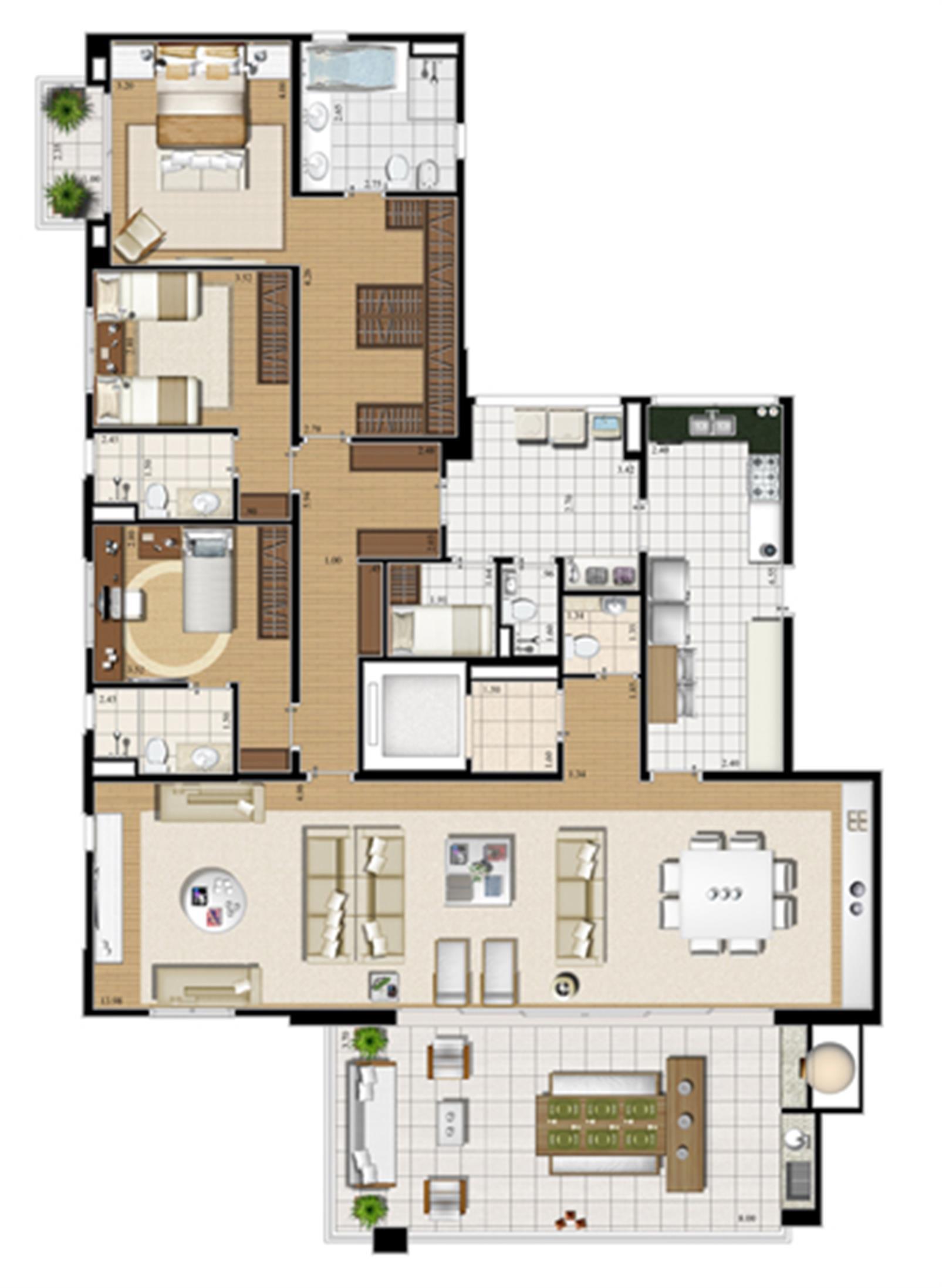 Planta opção   227 m² | Cristall Aclimação – Apartamentona  Aclimação - São Paulo - São Paulo