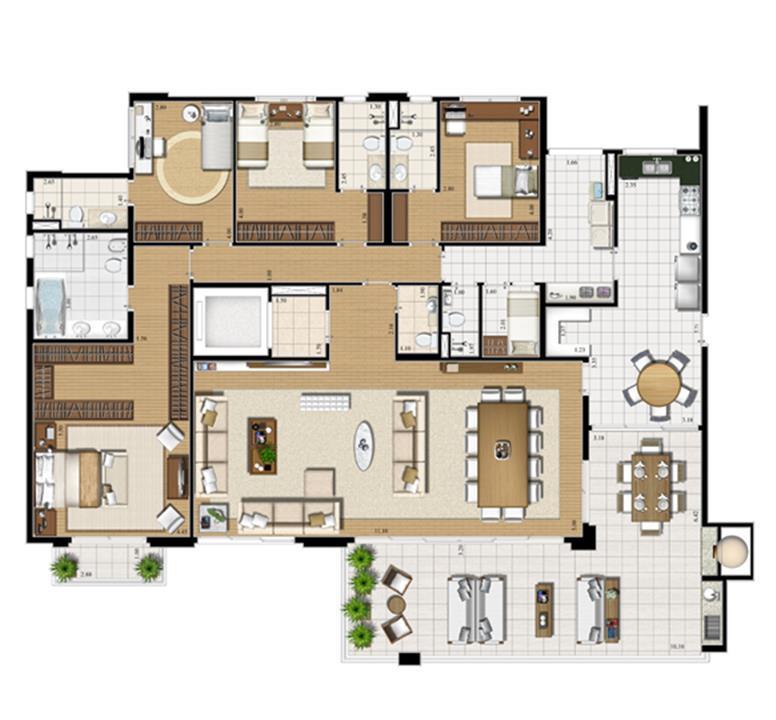 Planta tipo   275 m² | Cristall Aclimação – Apartamentona  Aclimação - São Paulo - São Paulo