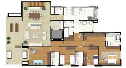 Planta-tipo - 4 dormitórios (2 suítes) - 412m² privativos - Piso Inferior (Néroli Double Floor) | Essência Alphaville – Apartamento em  Alphaville - Barueri - São Paulo