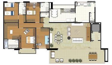 Planta-tipo - 4 dormitórios (2 suítes) - 408m² privativos - Piso Inferior (Néroli Varanda Double Floor) | Essência Alphaville – Apartamento em  Alphaville - Barueri - São Paulo