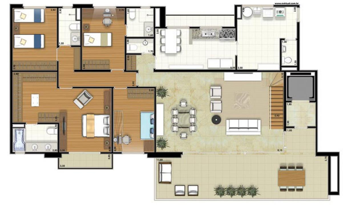 Planta-tipo - 4 dormitórios (2 suítes) - 408m² privativos - Piso Inferior (Néroli Varanda Double Floor) | Essência Alphaville – Apartamentoem  Alphaville - Barueri - São Paulo