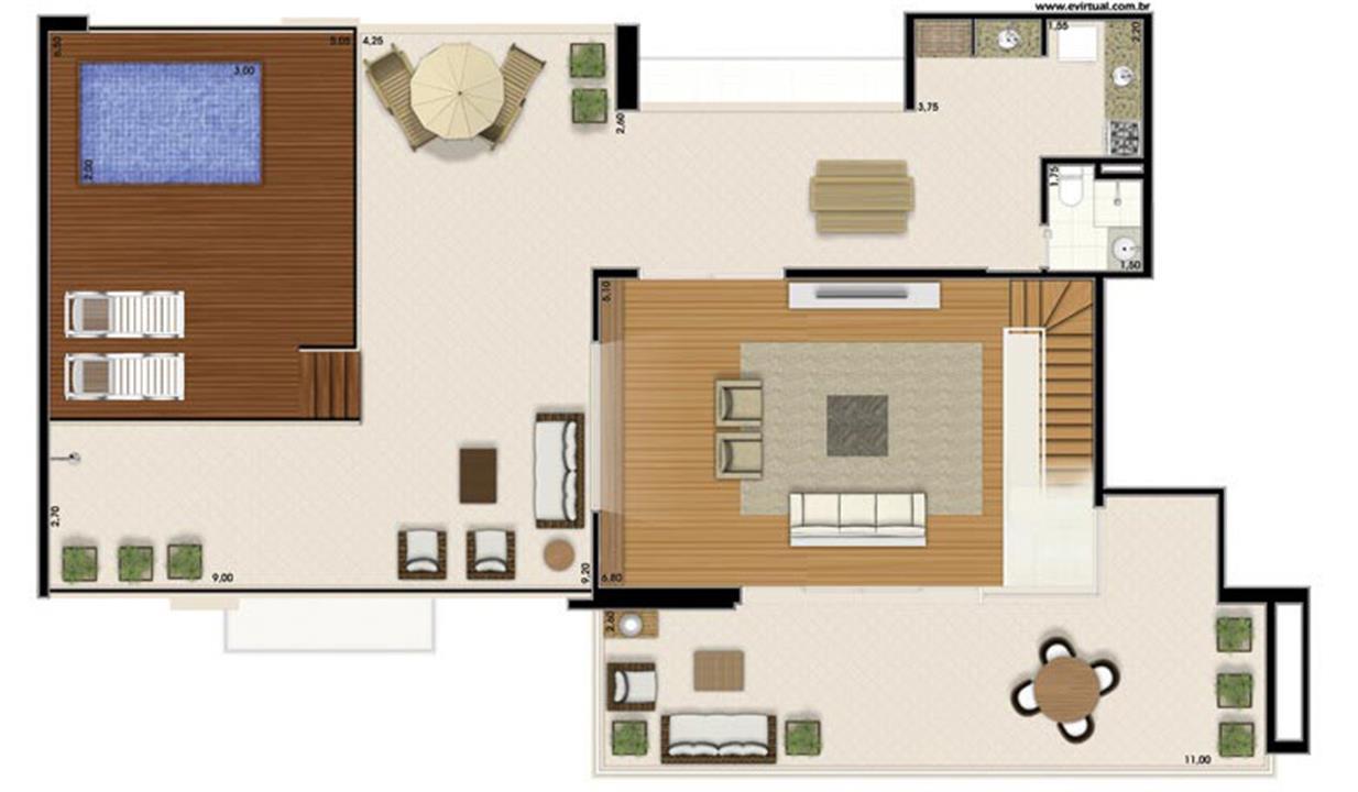 Planta-tipo - 4 dormitórios (2 suítes) - 408m² privativos - Piso Superior (Néroli Varanda Double Floor) | Essência Alphaville – Apartamentoem  Alphaville - Barueri - São Paulo