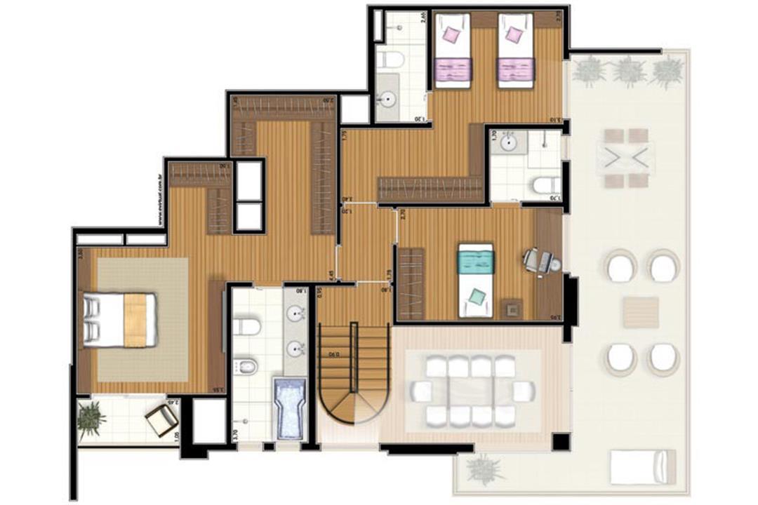 Planta-tipo - 3 suítes - 300m² privativos - Piso Intermediário (Verbera Triple Floor) | Essência Alphaville – Apartamentoem  Alphaville - Barueri - São Paulo
