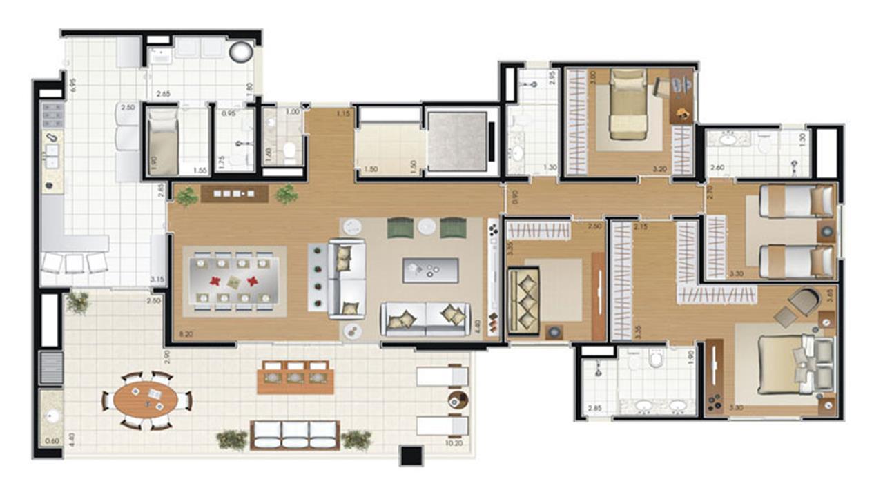 Planta tipo - 4 dorm.(2suítes) - 192 m² | Florae Aclimação – Apartamentona  Aclimação - São Paulo - São Paulo