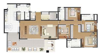 Planta Duplex 335m² (pavimento inferior) | Florae Aclimação – Apartamento na  Aclimação - São Paulo - São Paulo