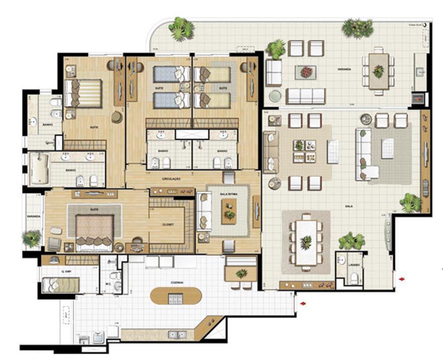 Edifício Flamands - Planta do 1º ao 14º pavto (col. 1 e 2 | Saint Barth – Apartamentona  Barra da Tijuca - Rio de Janeiro - Rio de Janeiro