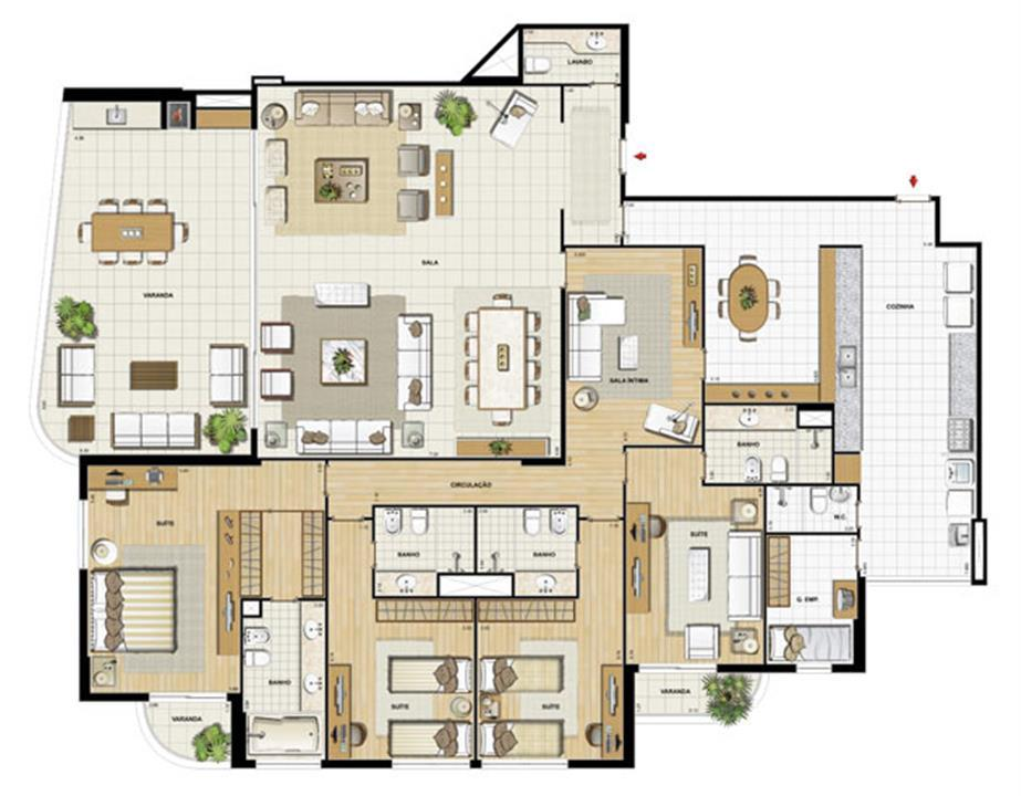 Edifício Flamands - Planta do 1º ao 14º pavto (col. 3 e 4) | Saint Barth – Apartamentona  Barra da Tijuca - Rio de Janeiro - Rio de Janeiro
