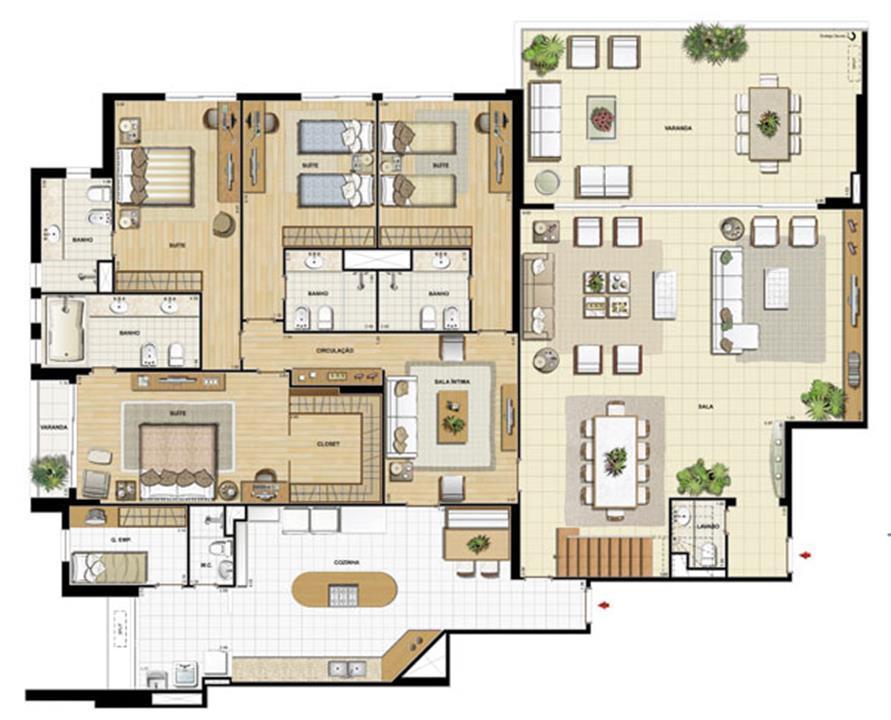 Edifício Flamands - Planta do 15º pavto (col. 1 e 2) | Saint Barth – Apartamentona  Barra da Tijuca - Rio de Janeiro - Rio de Janeiro