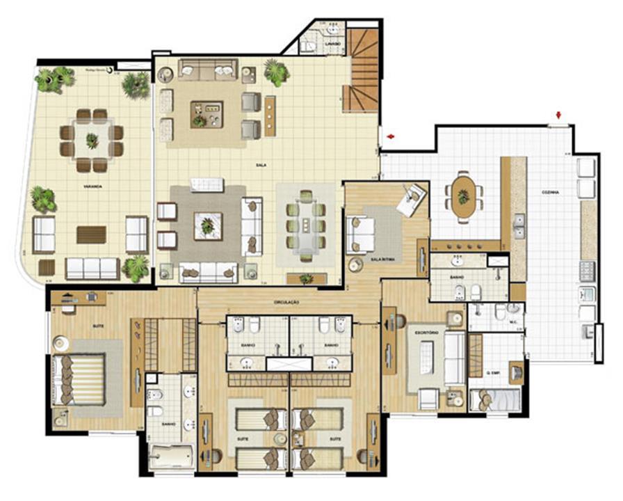 Edifício Flamands - Planta do 15º pavto (col. 3 e 4) | Saint Barth – Apartamentona  Barra da Tijuca - Rio de Janeiro - Rio de Janeiro