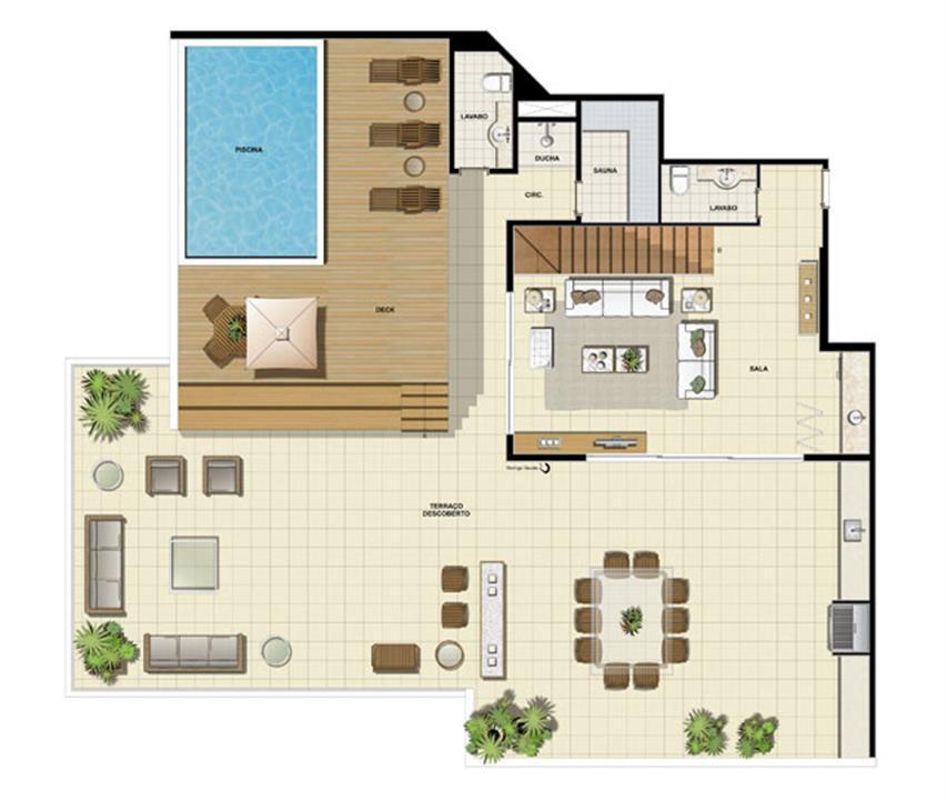 Edifício Saint Jean - Planta da dependência do 15º pavimento | Saint Barth – Apartamentona  Barra da Tijuca - Rio de Janeiro - Rio de Janeiro