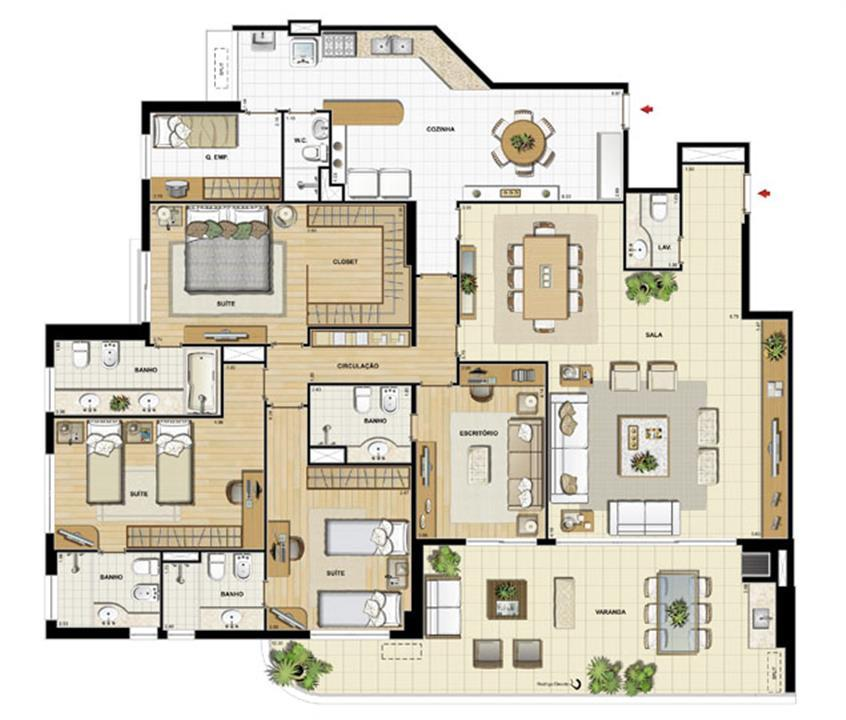 Edifício Saint Jean - Planta do 1º ao 14º pavimento | Saint Barth – Apartamentona  Barra da Tijuca - Rio de Janeiro - Rio de Janeiro