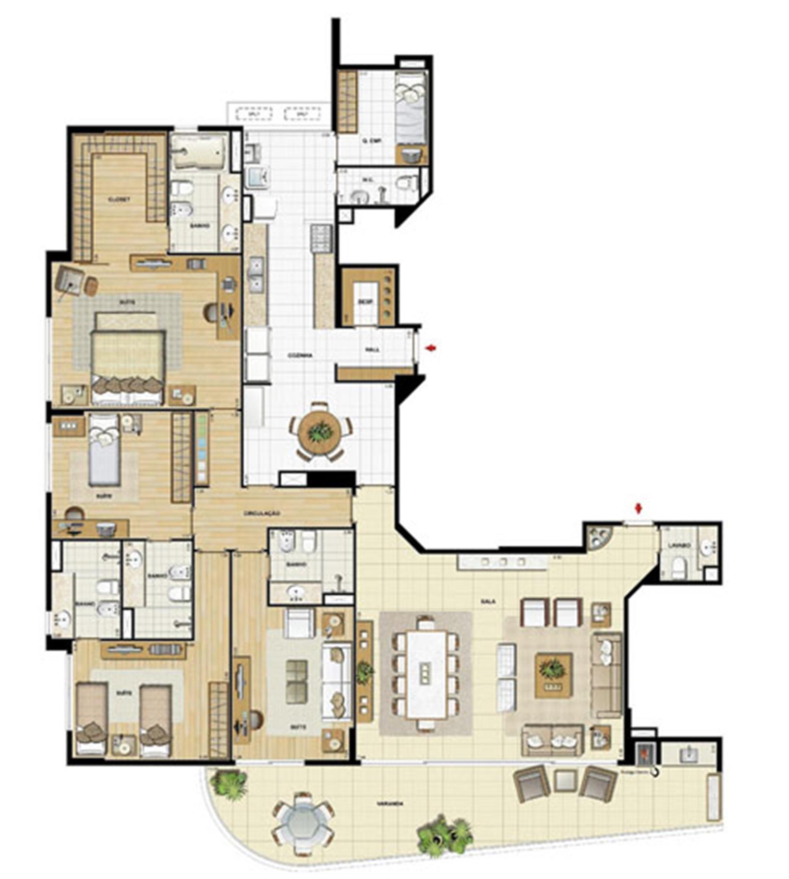 Edifício Le Petit Anse - Planta do 1º ao 14º pavto. (col. 1) | Saint Barth – Apartamentona  Barra da Tijuca - Rio de Janeiro - Rio de Janeiro