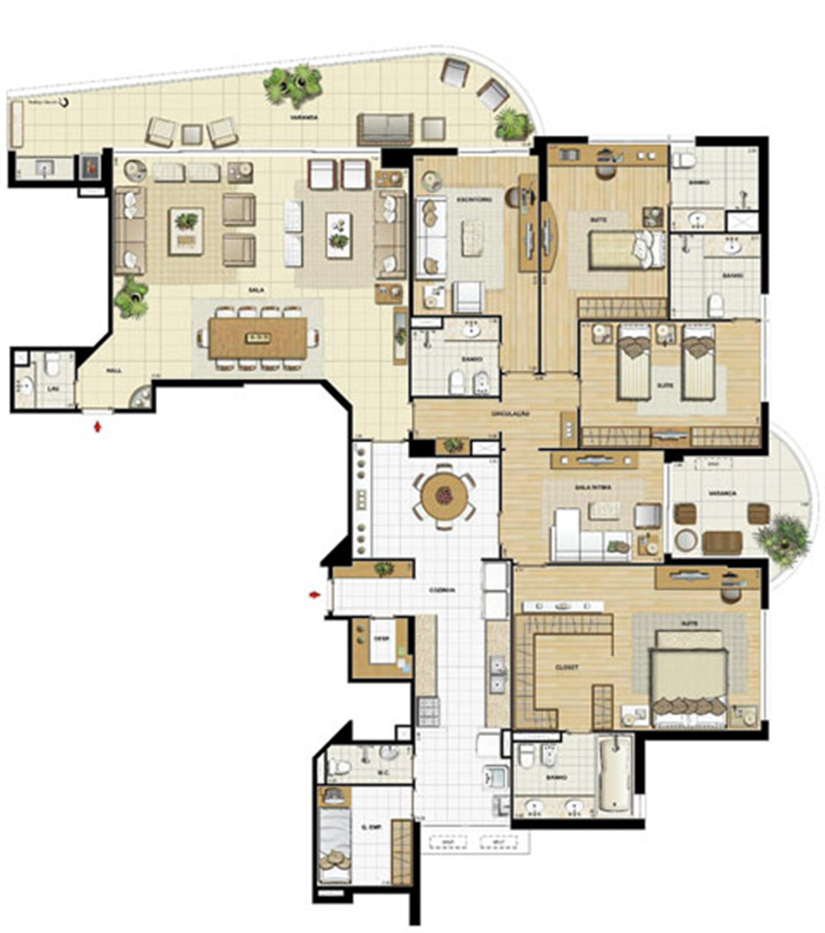 Edifício Le Petit Anse - Planta do 1º ao 14º pavto. (col. 6) | Saint Barth – Apartamentona  Barra da Tijuca - Rio de Janeiro - Rio de Janeiro