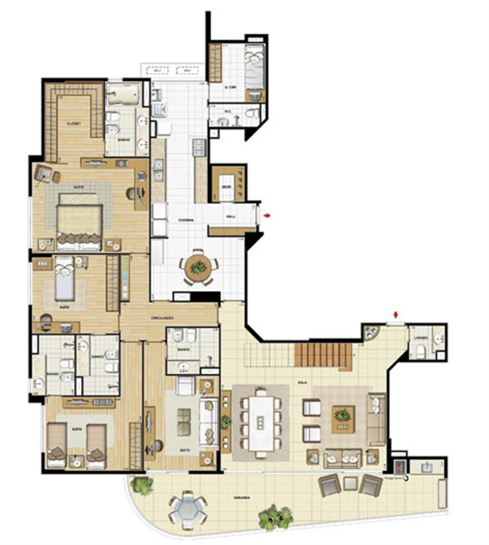 Edifício Le Petit Anse - Planta do 15º pvto. (col. 1) | Saint Barth – Apartamentona  Barra da Tijuca - Rio de Janeiro - Rio de Janeiro